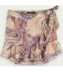 scotch & soda marbled wrap around mini skirt