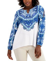 jm collection adorned printed top, created for macy's