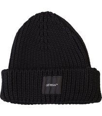off-white patched beanie hat