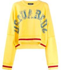 dsquared2 logo-print loose-fit sweatshirt - yellow