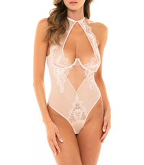 women's oh la la cheri liliana mesh & lace teddy, size x-large - pink