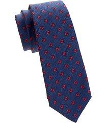 floral medallion silk-linen tie