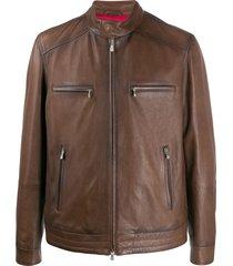brunello cucinelli zip-up multi-pocket jacket - brown