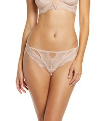 women's thistle & spire kane cutout lace thong, size large - beige