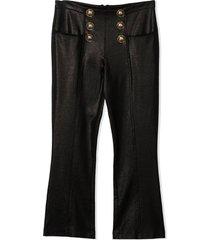 balmain black viscose-blend trousers