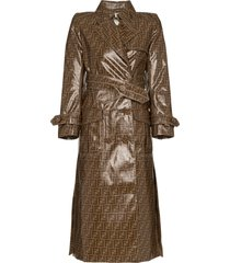 fendi ff motif plastic-finish trench coat - brown