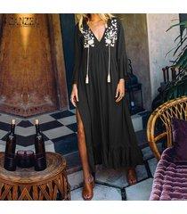 zanzea para mujer cuello en v floral de manga larga vestido de la playa de vacaciones vestidos flojos ocasionales -negro