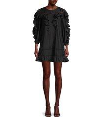 rebecca minkoff women's izzie ruffle dress - black - size xs