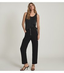 reiss riley - silk front vest in black, womens, size xl