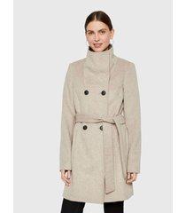 abrigo vero moda beige - calce regular