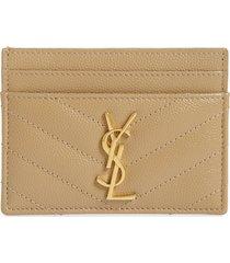 women's saint laurent monogram quilted leather credit card case - beige