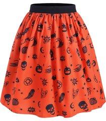halloween pumpkin star print flare skirt
