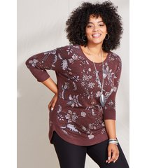 maurices plus size womens burgundy floral round hem pullover red