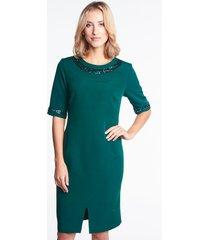 zielona sukienka wizytowa z cekinami