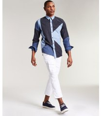 sun + stone men's leo asymmetric patchwork shirt, created for macy's