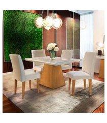 conjunto de mesa de jantar luna com tampo de vidro off white e 4 cadeiras grécia veludo creme e imbuia
