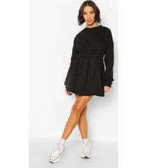 sweatshirt jurk met geplooide taille, zwart