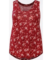 maurices plus size womens 24/7 red ditsy floral scoop neck tank top