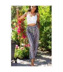 trendy hoge taille zomer-broek met print roze