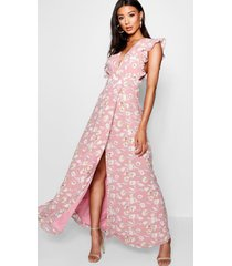 floral frill detail wrap maxi dress, rose