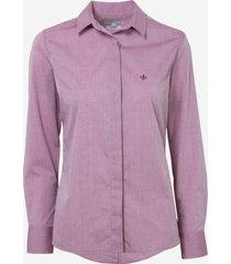 camisa dudalina manga longa tricoline maquinetado feminina (vinho, 46)