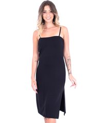 vestido up side wear reto fendas preto
