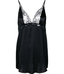 gilda & pearl rita lace-insert babydoll satin slip dress - black