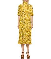 women's baum und pferdgarten angie turtleneck dress, size 4 us - yellow