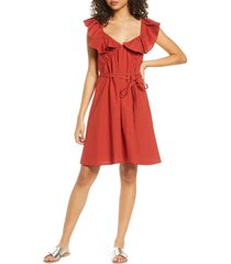 french connection azaa poplin flutter sleeve dress, size 0 in red orchre at nordstrom