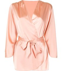 fleur du mal angel sleeve short robe - neutrals