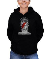 women's david bowie aladdin sane word art hooded sweatshirt