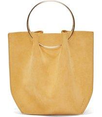 flat micro ring-handle suede bag