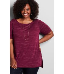 lane bryant women's perfect sleeve boatneck tunic 18/20 purple