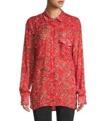 iro women's printed long-sleeve shirt - red - size 36 (4)