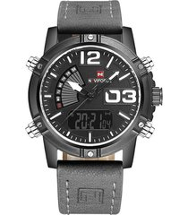 reloj cuarzo digital militar naviforce nf9095 negro gris
