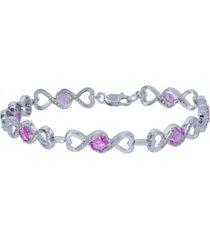 women's heart link bracelet in sterling silver