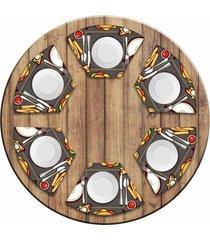jogo americano love decor para mesa redonda wevans fast food kit com 6 pçs