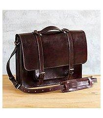 leather briefcase, 'andes vintage' (peru)