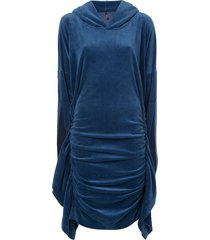 paula knorr velour ruched hooded dress - blue