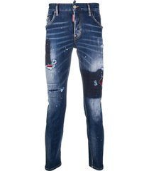 used skater denim with blue dots jeans