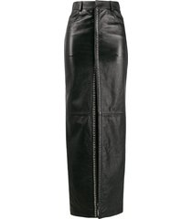 saint laurent stud detailing long skirt - black