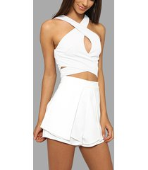 sleeveless cross-chest top and high waist shorts co-ord