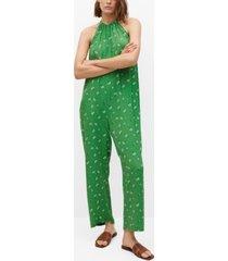 mango women's long printed jumpsuit