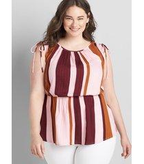 lane bryant women's sleeveless shoulder-tie peplum top 38/40 birthday stripe