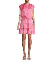 rebecca minkoff women's ollie leopard tiered dress - punch pink - size xs