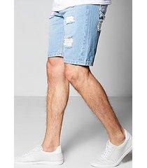 skinny fit rigid denim shorts with rip and repair