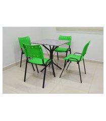 conjunto cozinha sevilha 0,75 com granito c/ 4 cadeiras isomix açomix verde