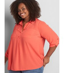 lane bryant women's convertible-sleeve popover top 38/40 starfish coral