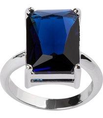 anel retangular the ring boutique pedra cristal azul safira ródio ouro branco