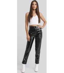 hoss x na-kd drawstring patent pants - black